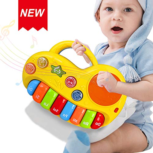 Baby Toys 6-12 Months Portable Musical Drums Piano Instrument Early Education Toy Various Animals Sounds/Music/Light/Funny Baby Sound Gift 12-18 Month Toys For 1 2 3 4 Year Old Boys Girls Toddlers