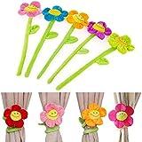 Gifts online Smile Sunflower Flexible Flower Curtain Tiebacks, 3.9-inch (Pink) - Set of 3
