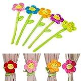 #7: Gifts Online Smile Sunflower Flexible Flower Curtain Tiebacks - Best Utility for Room Decor (Set of 3)