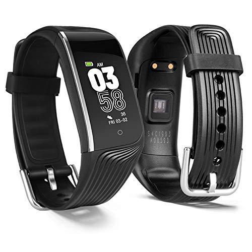 POSIVEEK Fitness Armband mit Pulsuhr,Wasserdicht IP67 Fitness Uhr Smartwatch Farbbildschirm Fitness Tracker Pulsmesser Schrittzähler Sportuhr für Damen Herren Anruf SMS Beachten für iOS Android Handy