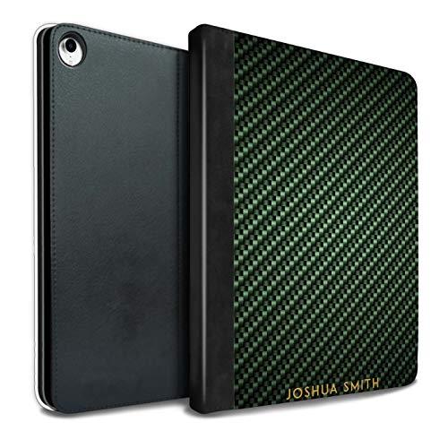 eSwish Personalisiert Kohlenstoff-Faser Muster PU-Leder Hülle für iPad Pro 10.5 (2017) / Grün Stempel Design/Initiale/Name/Text Tablet Schutzhülle/Tasche/Etui (Kohlenstoff-faser-buchstaben)