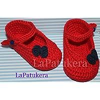 Patucos Merceditas para bebé de crochet, de color Rojo y azul marino, 100% algodón, tallas de 0 hasta 12 meses, hechos a mano en España.