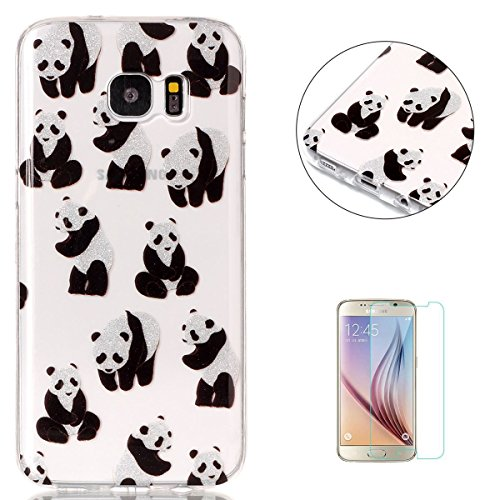 KaseHom Compatible for Samsung Galaxy (S7 Edge) Hülle Case Crystal le Caoutchouc Couvrir Bling Shining Flash Poudre Conception Doux TPU Silicone Gel Peau Transparent Shell-Panda Zebra Bling Case