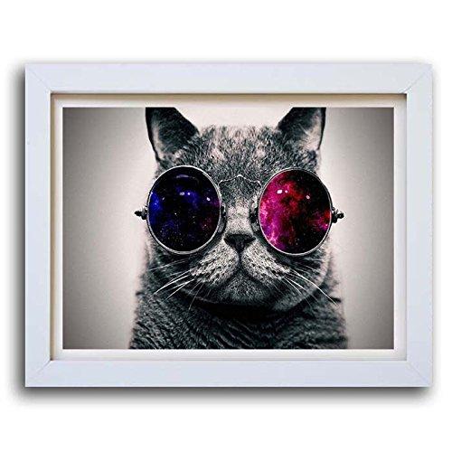 Box Prints Coole Katze Sonnenbrille Poster Print gerahmtes Bild Klein groß