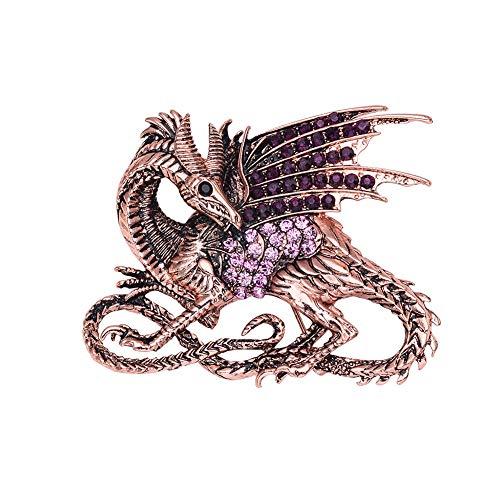 BonTime Amethyst Kristall Strass Dinosaurier Brosche personalisiert Modeschmuck Rose Gold