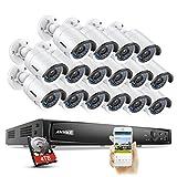 6 MP Überwachungskamera Set, ANNKE 16CH Poe NVR Recorder + 16 * 1080P Poe-IP-Überwachungskameras mit 4TB Festplatte, Poe Plug und Play, Bewegungserkennung, Online-Fernzugriff