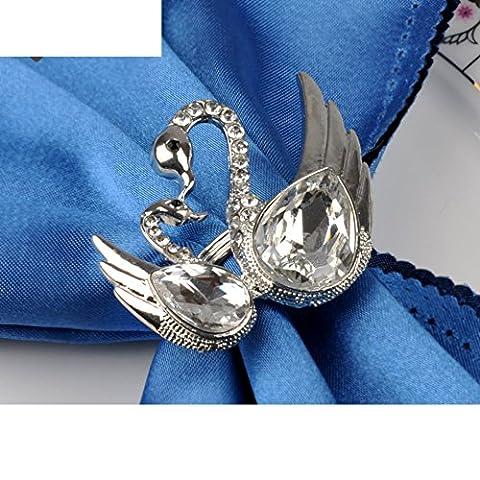 Crystal Swan repas anneau Acier inoxydable argenté rond de serviette Ronds de serviette