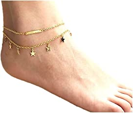 Anklet By Aniksha | Cute and Charm Stars Anklet Multi Layers Foot Anklet | Gold Color Foot Jewelry on Ankle Chain Leg Anklet For Women | Perfect For All Occasions Metal Charm Anklet | Best Gift for Loved Ones Sister Mother Wife friend | Rakhi Rakshabandhan Gift for Sister | Adjustable Metal Anklet for Girls Women Stylish Latest
