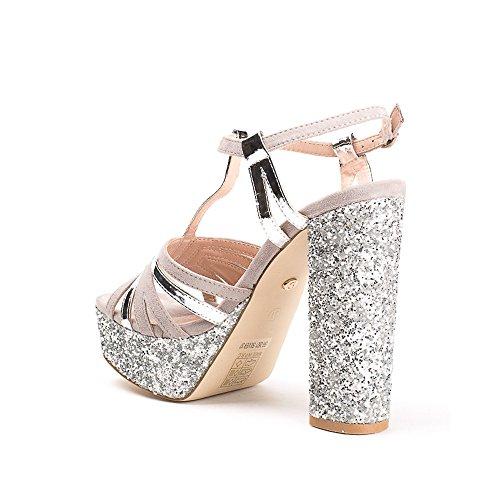 Ideal Shoes Sandales BI-Matière à Talon Carré Pailleté Therese Argent