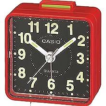 Casio TQ-140-7EF Réveil Quartz Analogique Alarme, Rouge/Noir