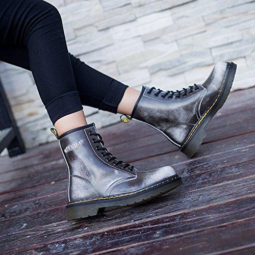 JACKSHIBO Bottes de cheville en cuir de mode pour femme Bottes de combat d'hiver gris/fourrure