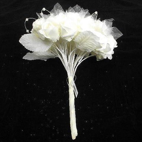 Florista supplies Bouquet de mariée artisanal roses scintillantes en tissu perles et organza Ivoire