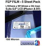 """Monocure3D 3DFF510-5P Película FEP de 100 micrones (paquete de 5) para impresoras LCD SLA / DLP de 5.5 """"(195x135x0.1mm)"""