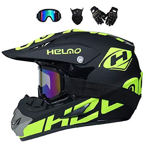 BMAQ Herren Full Face Motorrad-Helm, Downhill Enduro Helm mit Visier Brille Handschuhe Maske Crosshelm Motocross Sommer/Winter für Mann und Frau, Lärmreduzierung des Fahrtwind,S