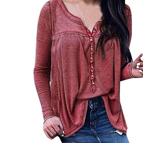 CICIYONER Damen Mode Bluse Volltonfarbe Langarm V-Ausschnitt Hemd Button Kausal Top