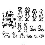 Autodomy Confezione Famiglia Felice di 15 Adesivi per Auto (Nero)