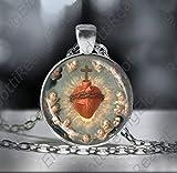 Colgante de medalla con corazón sagrado de nuestro Señor con los santos y los querunos, collar católico, joyería cristiana religiosa