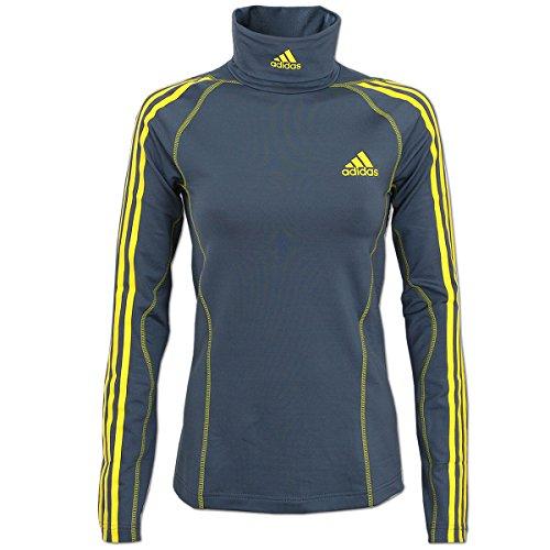 adidas Damen Rollneck Rolli Rollkragen Longsleeve Skirolli Skipulli (grau-gelb, 32) - Adidas Langarm Rollkragen