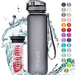 """720°DGREE Trinkflasche """"uberBottle"""" +Früchtebehälter - 1L - BPA-Frei - Wasserflasche für Uni, Sport, Fitness, Fahrrad, Outdoor - Sportflasche aus Tritan - Leicht, Bruchsicher, Nachhaltig"""