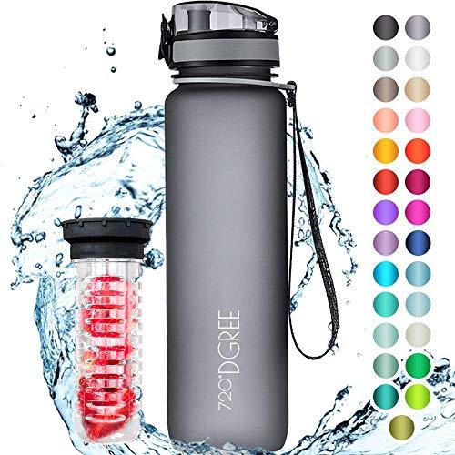 """720°DGREE Trinkflasche \""""uberBottle\"""" - 1 Liter, 1000ml, Grau - Neuartige Tritan Wasser-Flasche - Water Bottle BPA Frei - Ideale Sportflasche für Kinder, Fitness, Fahrrad, Sport, Fussball"""