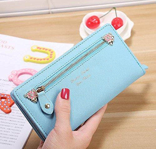 Hippolo Moda contratto ad alta capacità nuove donne di colore della caramella e borsa portafoglio borsa (Pink) Blue