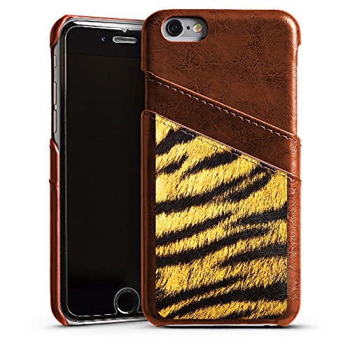 Apple iPhone 5s Housse Étui Protection Coque Animaux Aspect fourrure de tigre Motif Étui en cuir marron