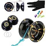 Original Magic Yoyo N11 Alloy Aluminum Professional Yo-Yos Balls Yoyo ball + 5 Strings + Gloves Toy Children Present Kids Girl Boy Gifts -- Red & Silver by MAGICYOYO