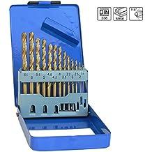 S&R Metallbohrer Set 1,5 - 6,5 mm 13 Stk, 135°, DIN 338, geschliffen, HSS TITANIUM, Nitrit-Titan-Beschichtung, Metallbox, Profi-Qualität