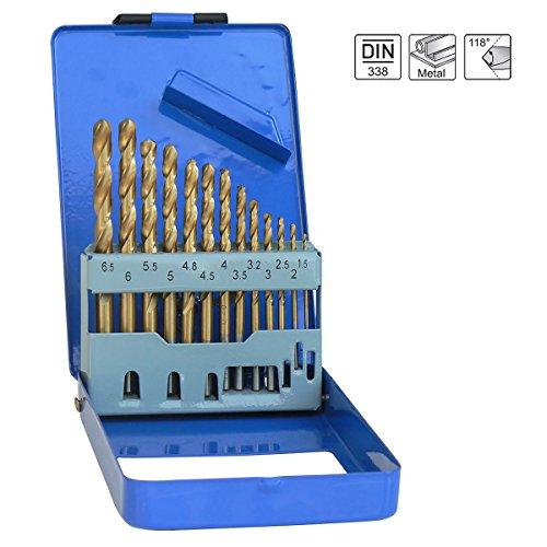 S&R Metallbohrer Set 1,5-6,5 mm 13 Stk, 135°, DIN 338, geschliffen, HSS TITANIUM, Nitrit-Titan-Beschichtung, Metallbox, Profi-Qualität