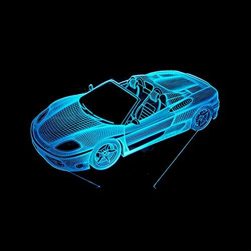3D LED 7 Cambio de Color Súper Lámpara Roadster Deporte Modelado de Coche Luces Nocturnas Acrílicas Ventiladores de Coche Dormitorio Iluminación Regalos Lámpara de Mesa