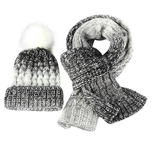 OYSOHE Herbst Winter Lovers gestrickte Beanie Mütze stricken Schal zwei Stücke Set Mütze Frauen (C) (Schal Lange Stricken Logo)