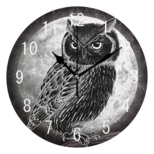 Use7 Wanduhr, für Halloween, Tiere, Eule, Vogel, Mond, Retro, rund, Acryl, geräuschlos, für Wohnzimmer, Küche, Schlafzimmer