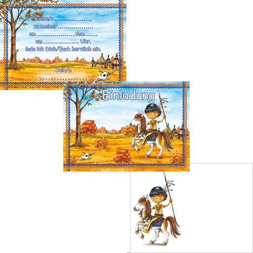 12-teiliges Einladungen-Set * INDIANER * mit 6 Einladungskarten und 6 Umschläge für Kindergeburtstag // Kinder Geburtstag Party Einladung Karten Jungen Indians Cowboy