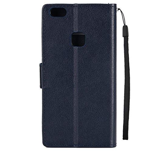 Custodia per Huawei P8 Lite 2017, ISAKEN Flip Cover per Huawei P8 Lite 2017 con Strap, Elegante Bookstyle Contrasto Collare PU Pelle Case Cover Protettiva Flip Portafoglio Custodia Protezione Caso con blu scuro