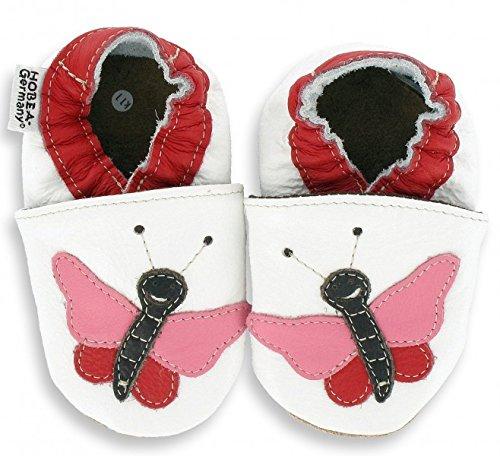 Krabbelschuhe in verschiedenen Farben und Design für Mädchen von HOBEA-Germany, Schuhgröße:16/17 (0-6 Monate);Modell Schuhe:Schmetterling Pauline
