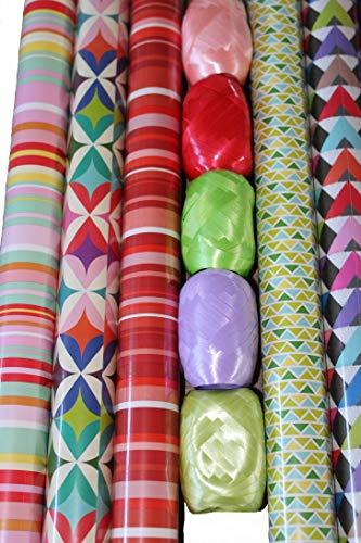 4 Rollen Geschenkpapier je 200 cm x 70 cm + 100 m Geschenkband - 5 Rollen a 20 m. unterschiedliche Muster und Farben