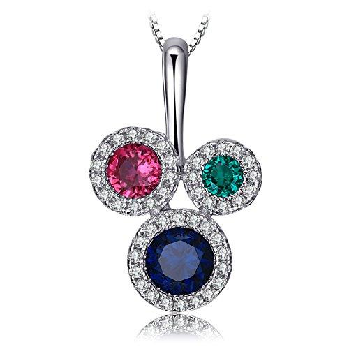 Jewelrypalace Muticolor 3 Stones 0.6ct Erstellt Blau Spinell Erstellt Rubin Anhänger Halskette 925 Sterling Silber 18 Zoll Box Kette