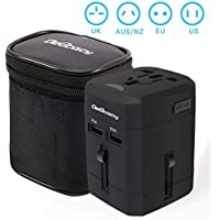 Worldwide Travel Adapter, Delicacy® Universal International Travel Charger with Dual USB Charging Ports [USB Power Rating of 5V/2500mA] for Apple, iPod, iPad, Android Smartphone and Digital Cameras