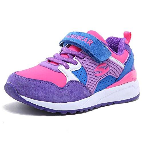 HOBIBEAR Jungen Turnschuhe Kinder Klettverschluss Sneaker Hallenschuhe Sportschuhe Outdoor Laufschuhe für Unisex-Kinder , Lila - 36 EU