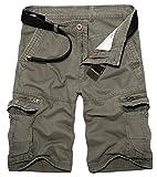 Panegy Herren Cargo Shorts Vintage Basic Arbeitshose Kurze Hose Freizeithose Ranger Hosen Männer Bermuda Sommerhose aus Baumwolle vielen Taschen