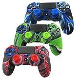 Pandaren® la peau de skin cover pour manette de PS4 x 3 + thumbstick thumb grip x 6 (camouflage rouge vert bleu)