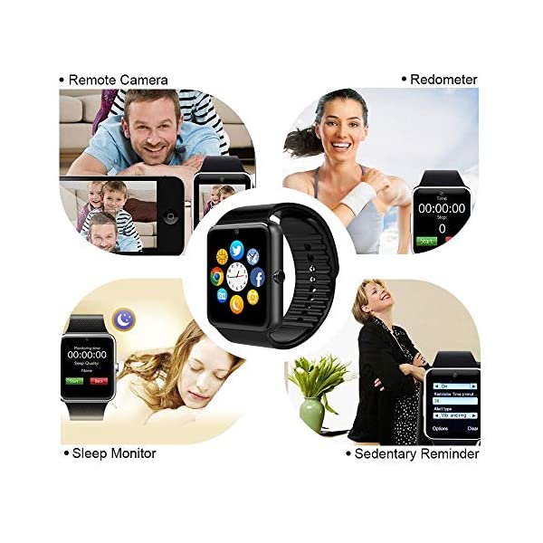 Reloj Inteligente, Smartwatch Bluetooth y Ranura para Tarjeta SIM con Rastreador de Actividad, Podómetro, Cronómetros Reloj de Fitness, Reloj Iinteligente Hombre Mujer niños Android/iOS Phone 10