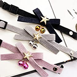 Mascota Gatos Perros ajustable Collar Corbata de moño collar de perlas Osito de peluche Adorno de cuello Accesorios personalizable , black , XL