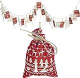 Weihnachtskalender Säckchen / Dekorationsartikel / 24 Beutelchen in beige und rot mit Muster und Zahlen / einzeln verschließbar / ca.250cm lang / Säcklein ca.14cm / Trendyshop365