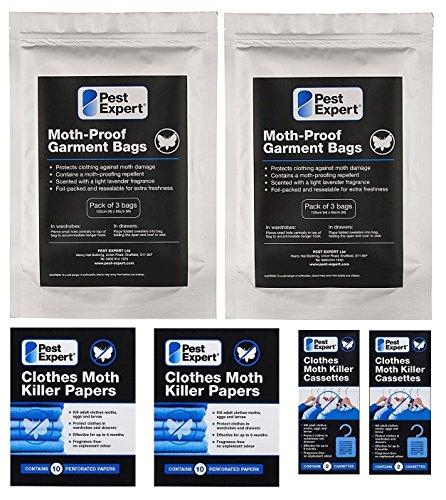 Kit 2 de protection contre les mites de vêtements dans les garde-robes (2 garde-robe doubles / 4 grand tiroirs) de Pest Expert. Produit de qualité professionnelle.