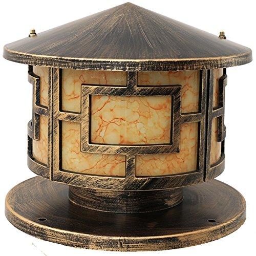 C&L Lampe de jardin étanche, rétro jardin rétro lampes de jardin pilier lampe lampe de mur paysage lumières pelouse unique tête E27, haute 25,5-36 CM ( Couleur : Brass-40-40-36CM )