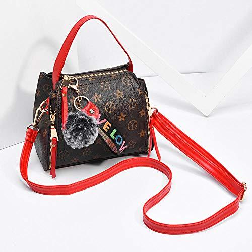 Fyyzg Mode Handtasche Frühjahr Neue Umhängetasche Handtasche einfachen Trend geschlungen Paket Mode alte Blume - rot