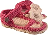 Babyschuhe - Flip - Flops Zehentrenner Sandalen gehäkelt gestrickt Gr. 16/17 (Pink)