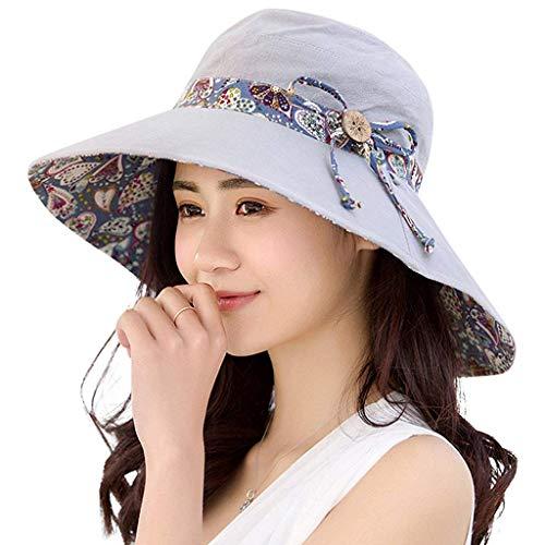 PALAY® Womens Sun Hat,Both Sides wear,UPF 50+ Beach Garden Hat Foldable Wide Brim