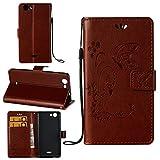 Guran® PU Ledertasche Case für Wiko Pulp (5 Zoll) Smartphone Flip Cover Wallet und Stent-Funktions Hülle Geprägtes Schmetterling Muster Etui - Braun